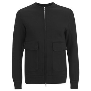 Helmut Lang Men's Collarless Padded Jersey Bomber Jacket - Black