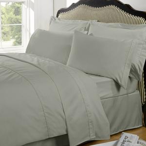 Highams 100% Egyptian Cotton Plain Dyed Bedding Set - Silver Grey
