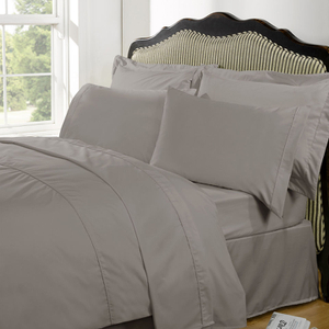Highams 100% Egyptian Cotton Plain Dyed Bedding Set - Portabello