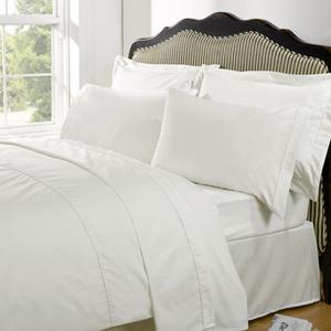 Highams 100% Egyptian Cotton Plain Dyed Bedding Set - Cream