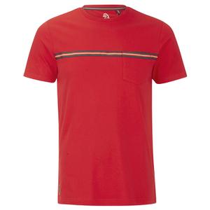Luke 1977 Sport Men's Applique Stripe Detail Crew Neck T-Shirt - Marina Red