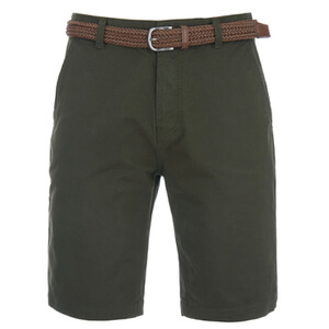 Threadbare Men's Belted Chino Shorts - Forest