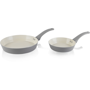 Tower T90920G Taper 2 Piece Ceramic Coated Frying Pan Set - Grey