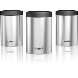 Tower T80103 Set of 3 Storage Canisters - Stainless Steel