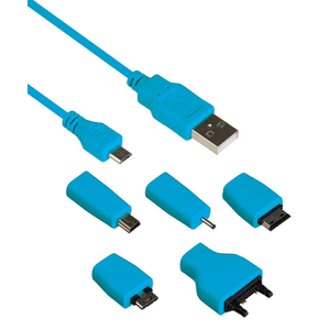 Kit Universal Charge & Data Transfer Cable with 5 Tips - Blue