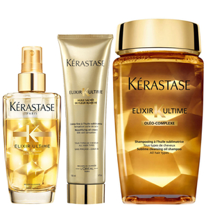 Kérastase Elixir Ultime Huile Lavante Bain 250ml, Crème Fine 150ml and Fine Hair Oil 100ml Bundle