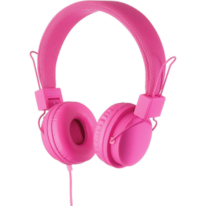 Goodmans On Ear Headphones with In-Line Mic & Remote - Pink