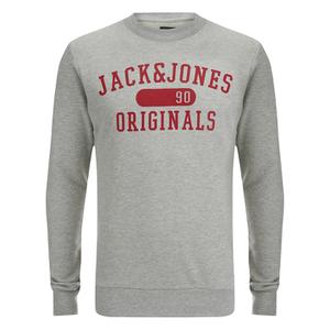 Jack & Jones Men's Seek Crew Neck Sweatshirt - Light Grey Marl
