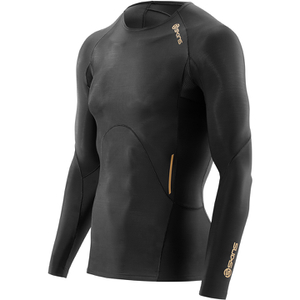 Skins A400 Men's Logo Long Sleeve Top - Black/Gold