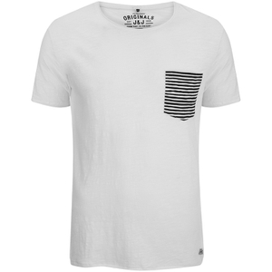 Jack & Jones Men's Originals Raw Stripe Pocket T-Shirt - Cloud Dancer