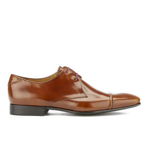PS by Paul Smith Men's Robin High Shine Leather Toe Cap Derby Shoes - Cuero Tan