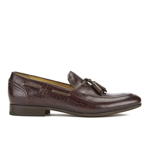 H Shoes by Hudson Men's Pierre Croc Leather Tassle Loafers - Brown