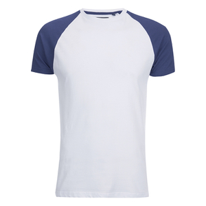 Brave Soul Men's Baptist Raglan Sleeve T-Shirt - White/Ink Blue