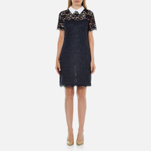 MICHAEL MICHAEL KORS Women's Collar Lace T-Shirt Dress - New Navy