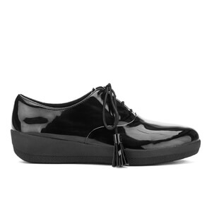 FitFlop Women's Classic Tassel Superoxford Patent Shoes - All Black - UK 7