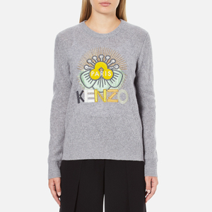 KENZO Women's Flower Logo Knitted Jumper - Light Grey