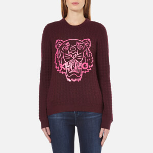KENZO Women's Tiger Rubber Logo On Cable Knitted Jumper - Prune Melange