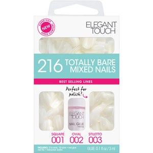 Elegant Touch Totally Bare Nails Bumper Kit - Kit Normal Mezclado (Stiletto/Oval/Cuadrado)
