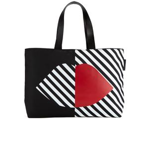 Lulu Guinness Women's Larysa 50:50 Lips Large Stripe Tote Bag - Black/White/Red