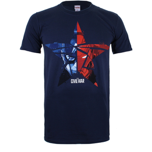 Marvel Herren Captain America Civil War Broken Star T-Shirt - Dunkelblau