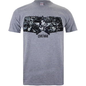 Marvel Men's Captain America Civil War Stars & Stripes T-Shirt - Sport Grey