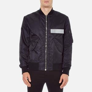 MSGM Men's Bomber Jacket with Reflective Strip - Black