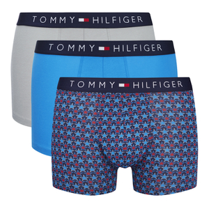 Tommy Hilfiger Men's 3 Pack Icon Trunk Boxer Shorts - Alloy/Samba/Brilliant Blue