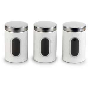 Salter Marble Collection White 3 Piece Window Canister Set