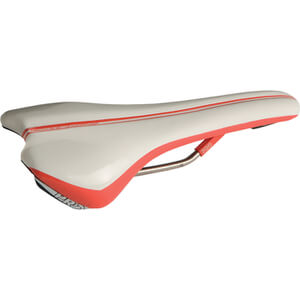 Pro Griffon Saddle Hollow Ti Rails - 132 mm Wide - Anatomic Fit - White/Red