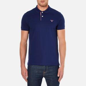 GANT Men's Contrast Collar Pique Polo Shirt - Persian Blue