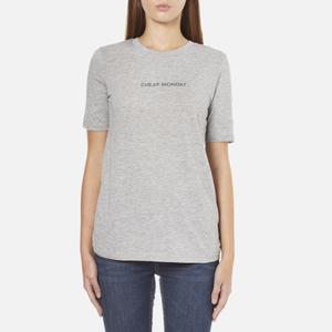 Cheap Monday Women's Break T-Shirt with Placed Text - Grey Melange