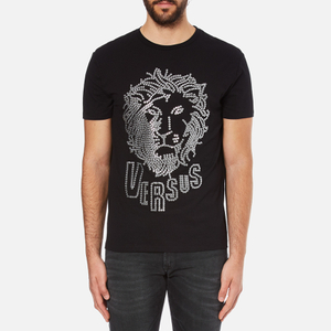 Versus Versace Men's Large Lion Logo T-Shirt - Black Stampa