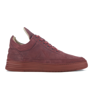 Filling Pieces Men's Monotone Stripe Low Top Trainers - Maroon
