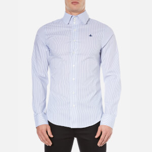 Vivienne Westwood MAN Men's Stretch Stripe Poplin Long Sleeve Shirt - Blue Stripe