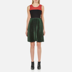 Maison Scotch Women's Pleated Sleeveless Party Dress - Multi