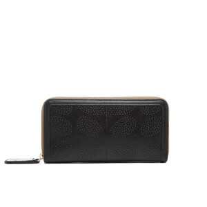 Orla Kiely Women's Sixties Stem Big Zip Leather Wallet - Black