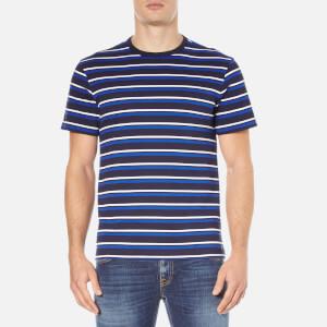 Lacoste Men's Striped Crew Neck T-Shirt - Navy Blue/Flour