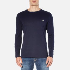 Lacoste Men's Long Sleeved Crew Neck T-Shirt - Navy Blue