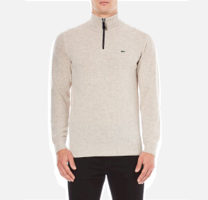 Lacoste Men's Half Zip Funnel Neck Jumper - Oats Chine/Navy Blue