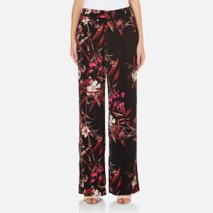 Gestuz Women's Demi Wide Leg Printed Pants - Black/Pink Flower Print