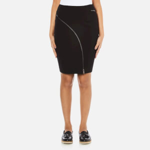 Karl Lagerfeld Women's Punto Skirt With Curved Zip - Black