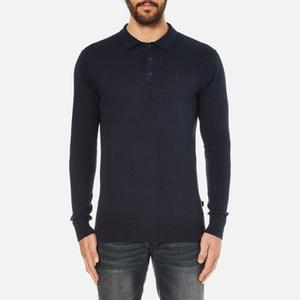Superdry Men's Orange Label Knitted Polo Jumper - Eclipse Navy/Black Twist