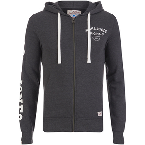 Jack & Jones Men's Originals Masum Zip Through Hoody - Dark Grey
