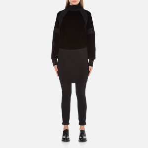 DKNY Women's Long Sleeve Sweater Mix Turtleneck Dress - Black
