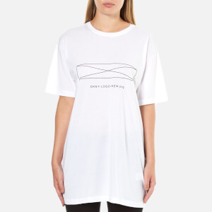 DKNY Women's Short Sleeve Oversized Top - White