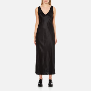 DKNY Women's Sleeveless V-Neck Slip Dress with Ribbed Trims and Back Slit - Black
