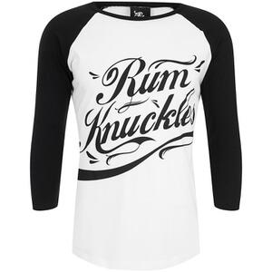 Rum Knuckles Signature Logo 3/4 Sleeve Raglan Top - White/Black