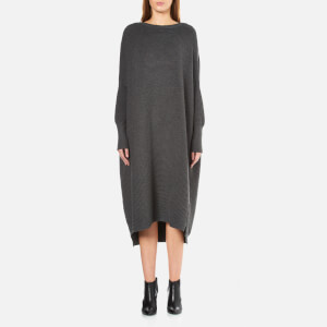 Paisie Women's Ribbed Jumper Dress with Side Splits - Charcoal