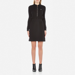 Love Moschino Women's Silver Heart Pendant Zip Jumper Dress - Black