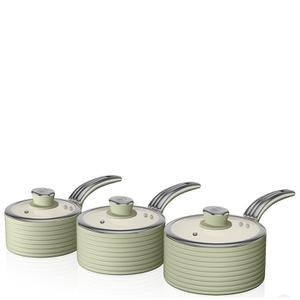 Swan Retro Saucepan Set - Green (3 Piece)